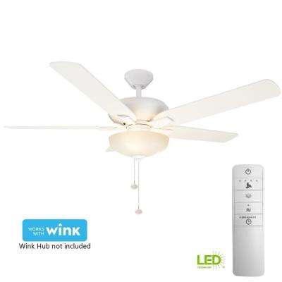 Holly Springs 52 in. LED Indoor Matte White Smart Ceiling Fan with Light Kit and WINK Remote Control