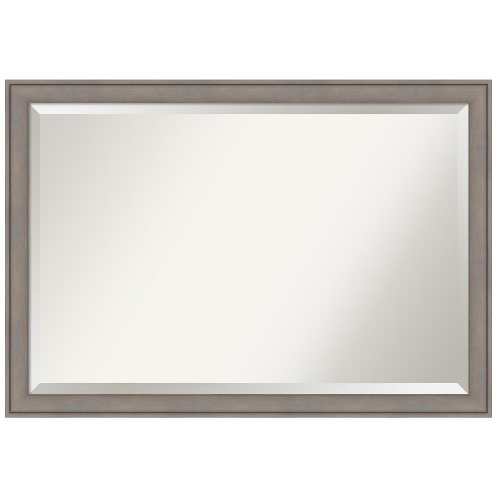 Graywash Wood 39 in. W x 27 in. H Distressed Framed Mirror
