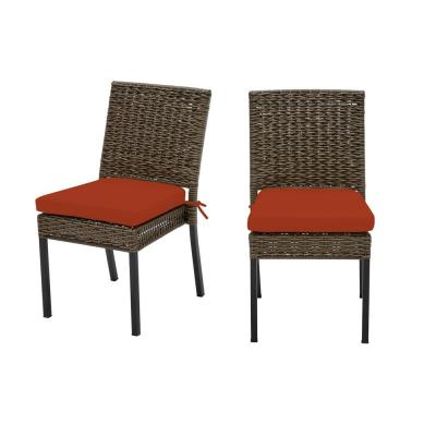 Laguna Point Brown Wicker Outdoor Patio Dining Chair with CushionGuard Quarry Red Cushions (2-Pack)