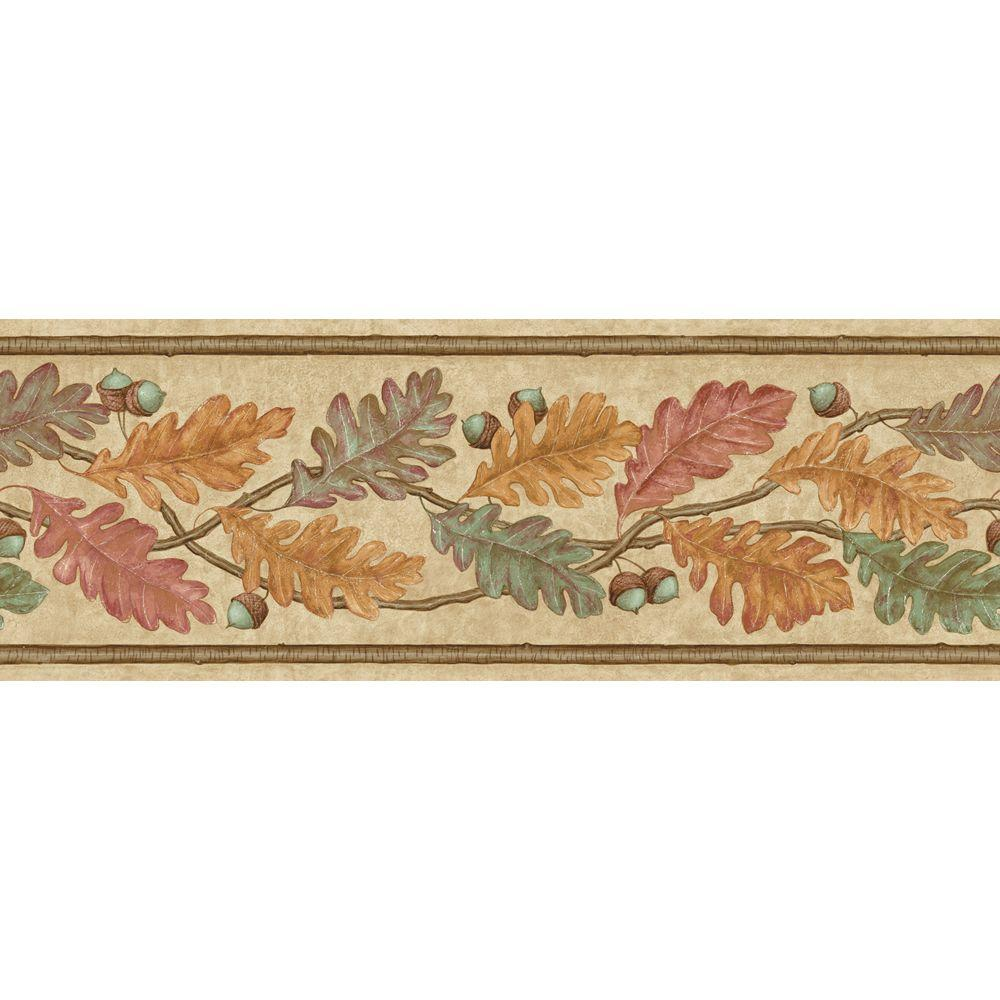 The Wallpaper Company 6.83 in. x 15 ft. Earth Tone Oak Leaves Border-DISCONTINUED
