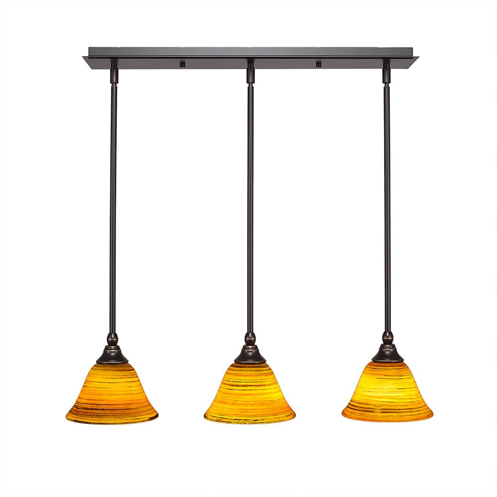 cambridge 3 light dark granite island pendant with orange. Black Bedroom Furniture Sets. Home Design Ideas