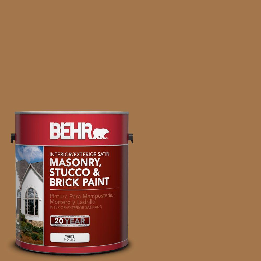 BEHR Premium 1-gal. #MS-38 Honey Amber Satin Interior/Exterior Masonry, Stucco and Brick Paint