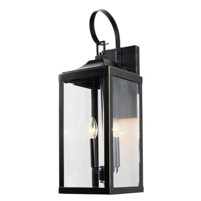 2 Light 25 in. Outdoor Wall Lantern Sconce in Imperial Black