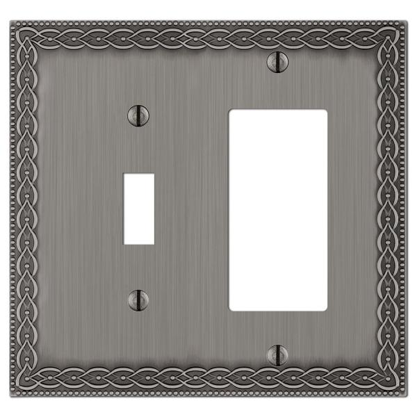 Amelia 2 Gang 1-Toggle and 1-Rocker Metal Wall Plate - Antique Nickel