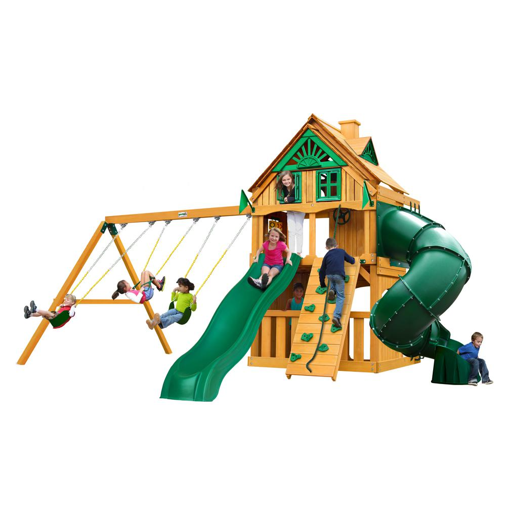Gorilla Playsets Mountaineer Clubhouse Treehouse Wooden Swing Set with Fort Add-On and Tube Slide