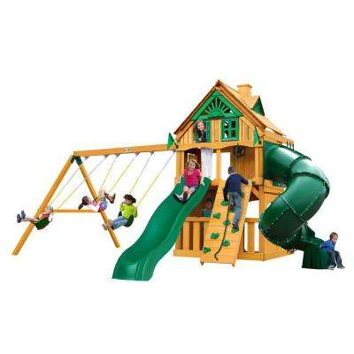 Mountaineer Clubhouse Treehouse Wooden Swing Set with Fort Add-On and Tube Slide