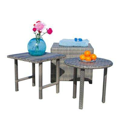 Christopher Grey Round and Square Wicker Outdoor Accent Table