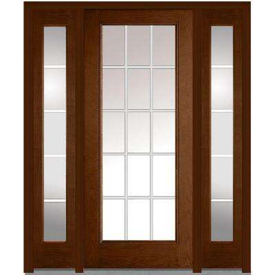 64 in. x 80 in. Internal Grilles Right-Hand Full Lite Clear Stained Fiberglass Oak Prehung Front Door with Sidelites