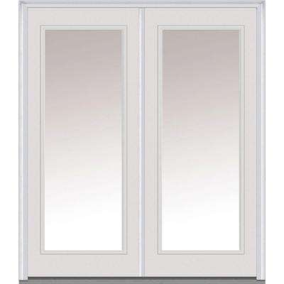 72 in. x 80 in. Classic Right-Hand Inswing Full Lite Clear Glass Painted Steel Prehung Front Door with Brickmould