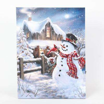 16 in. Winter Wonderland Snowman Print with LED Lights