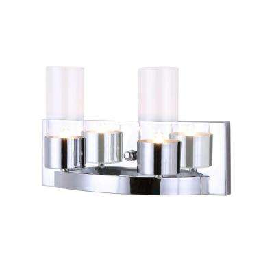 Audrey 2 light chrome vanity light with clear glass