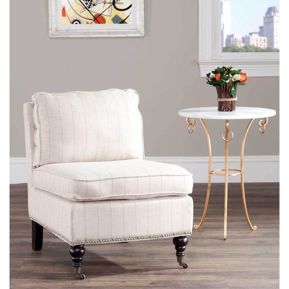 Randy Beige Linen Slipper Chair