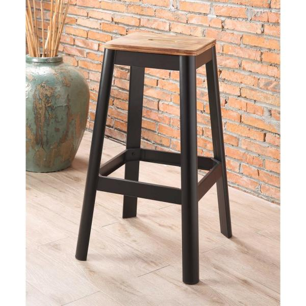 Acme Furniture Jacotte 30 in. Natural and Black Bar Stool 72332