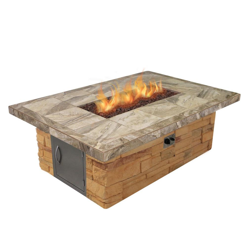 Cal Flame Cultured Stone and Tile Rectangle Propane Gas Fire Pit with Log Set and Lava Rocks