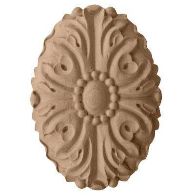 1 in. x 3-1/2 in. x 4-7/8 in. Unfinished Wood Maple Ashford Oval Rosette