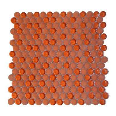 Contempo Orange Circles 11-1/2 in. x 12 in. 8 mm Polished  and  Frosted Mosaic Tile (0.96 sq. ft. )