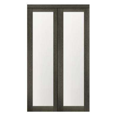 60 in. x 80.50 in. 1-Lite 1-Panel Iron Age Finished MDF Sliding Door