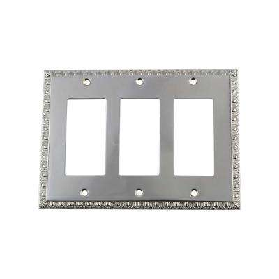 Egg and Dart Switch Plate with Triple Rocker in Bright Chrome