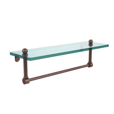 16 in. L  x 5 in. H  x 5 in. W Clear Glass Vanity Bathroom Shelf with Integrated Towel Bar in Antique Copper