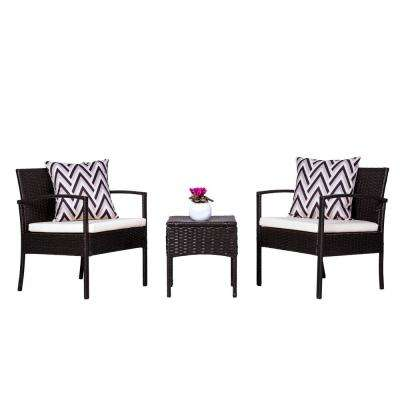 Cyrus 3-Piece Wicker Patio Conversation Set with Cushion