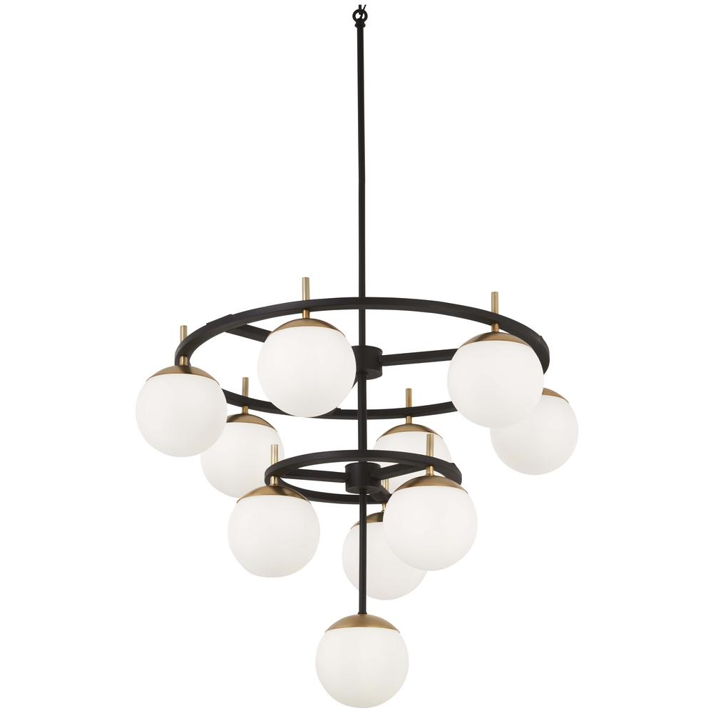 Alluria 10-Light Weathered Black with Autumn Gold Chandelier with Etched Opal