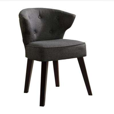 Gray/Dark Cherry Herculan Fabric Modern Button Tufts Accent Chair