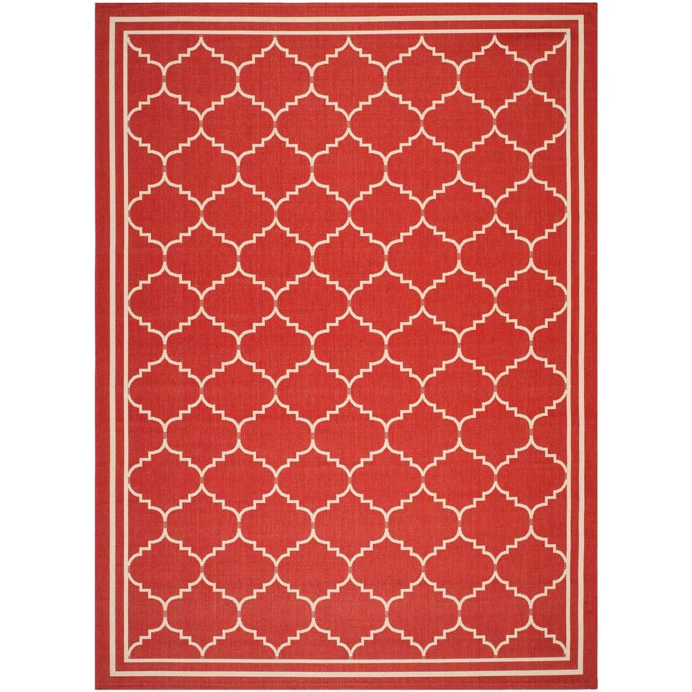 Safavieh Courtyard Red/Beige 6 ft. 7 in. x 9 ft. 6 in. Indoor/Outdoor Area Rug
