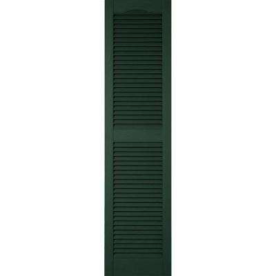 14-1/2 in. x 80 in. Lifetime Vinyl Standard Cathedral Top Center Mullion Open Louvered Shutters Pair Midnight Green