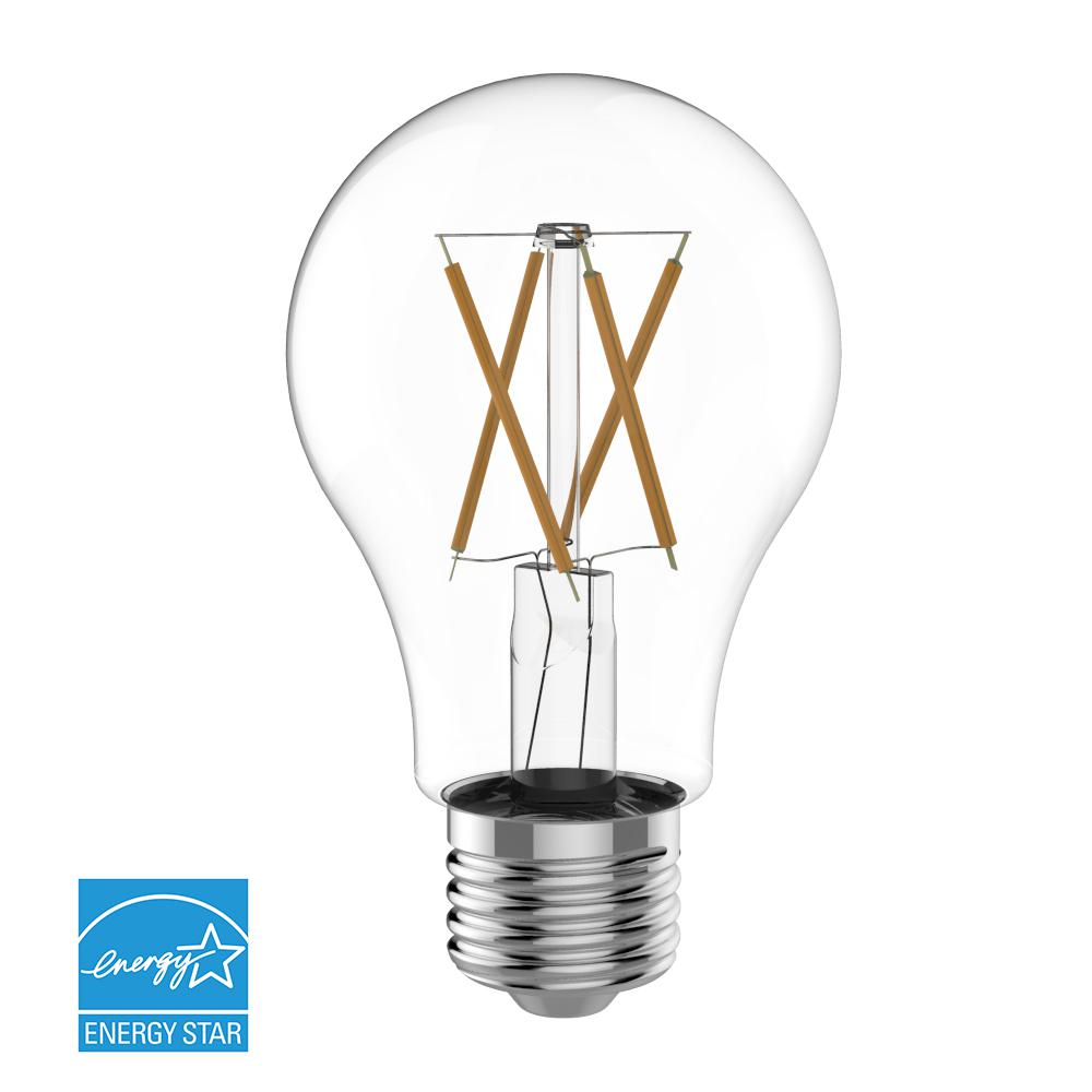 Euri Lighting 60W Equivalent Warm White (2700K) A19 Dimmable Clear ...