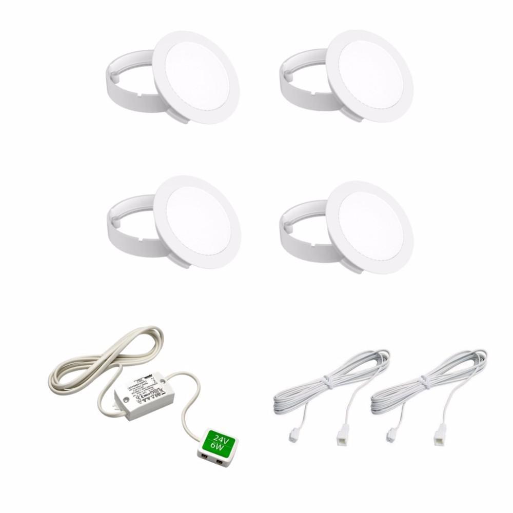 1.4-Watt LED Cool White Puck Kit (4-Pack)