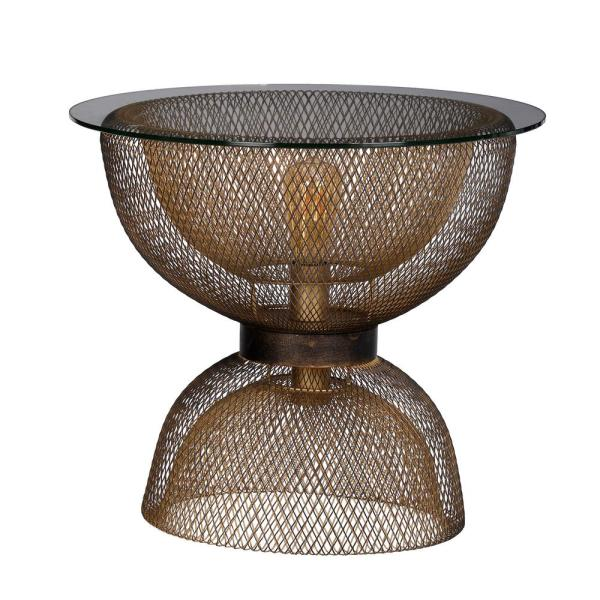A & B Home Modern Antique Gold and Black Round Side