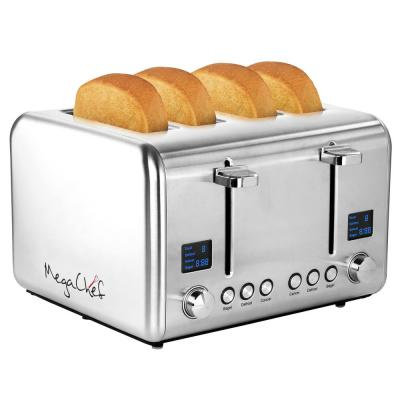 1800W 4-Slice Stainless Steel Silver Wide Slot Toaster