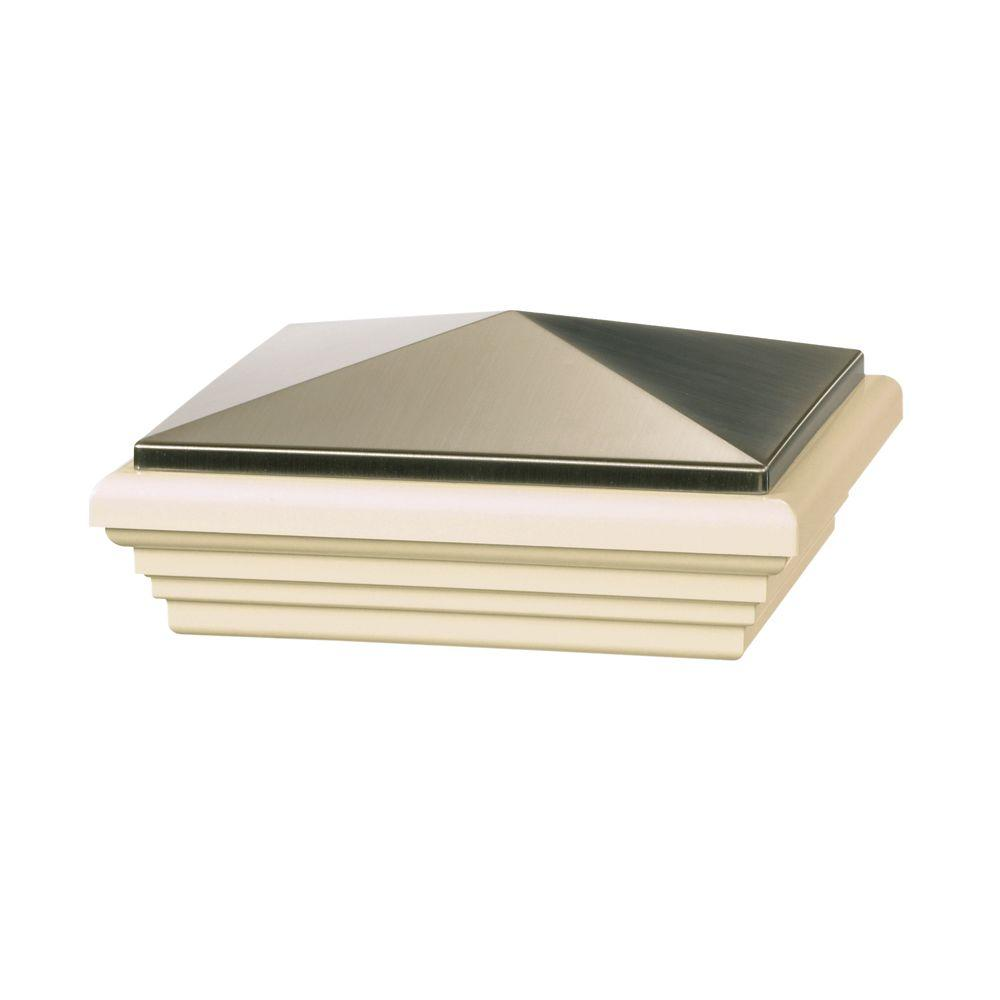 Veranda 5 in. x 5 in. Vinyl Stainless Stylepoint Pyramid Post Cap with Tan Base
