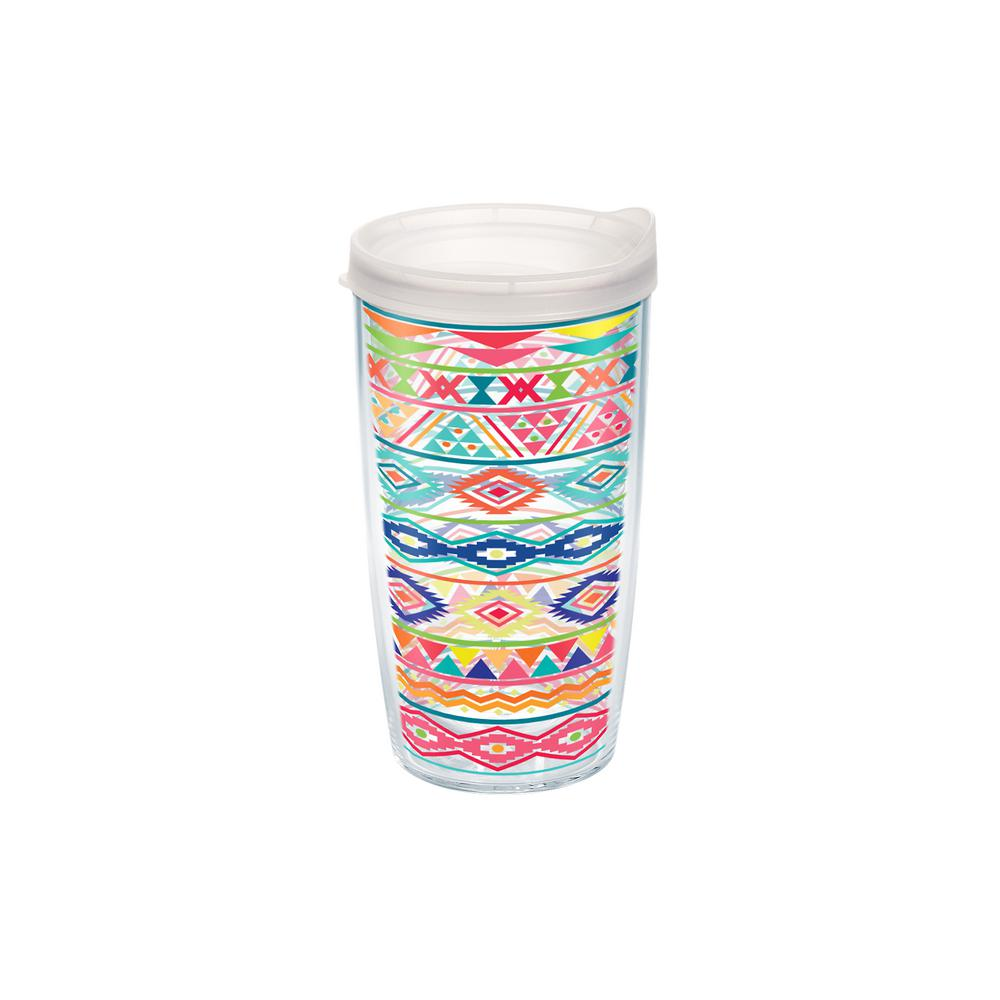 Tervis Bright Aztec Pattern 16 Oz Double Walled Insulated Tumbler With Travel Lid