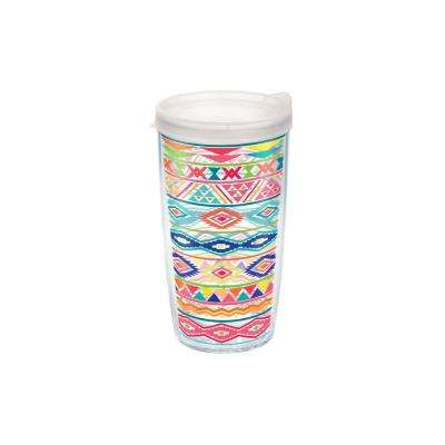Bright Aztec Pattern 16 oz. Double Walled Insulated Tumbler with Travel Lid