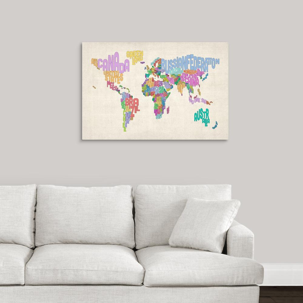 Greatbigcanvas country names world map pastel colors on parchment greatbigcanvas country names world map pastel colors on parchment by michael tompsett canvas gumiabroncs Image collections