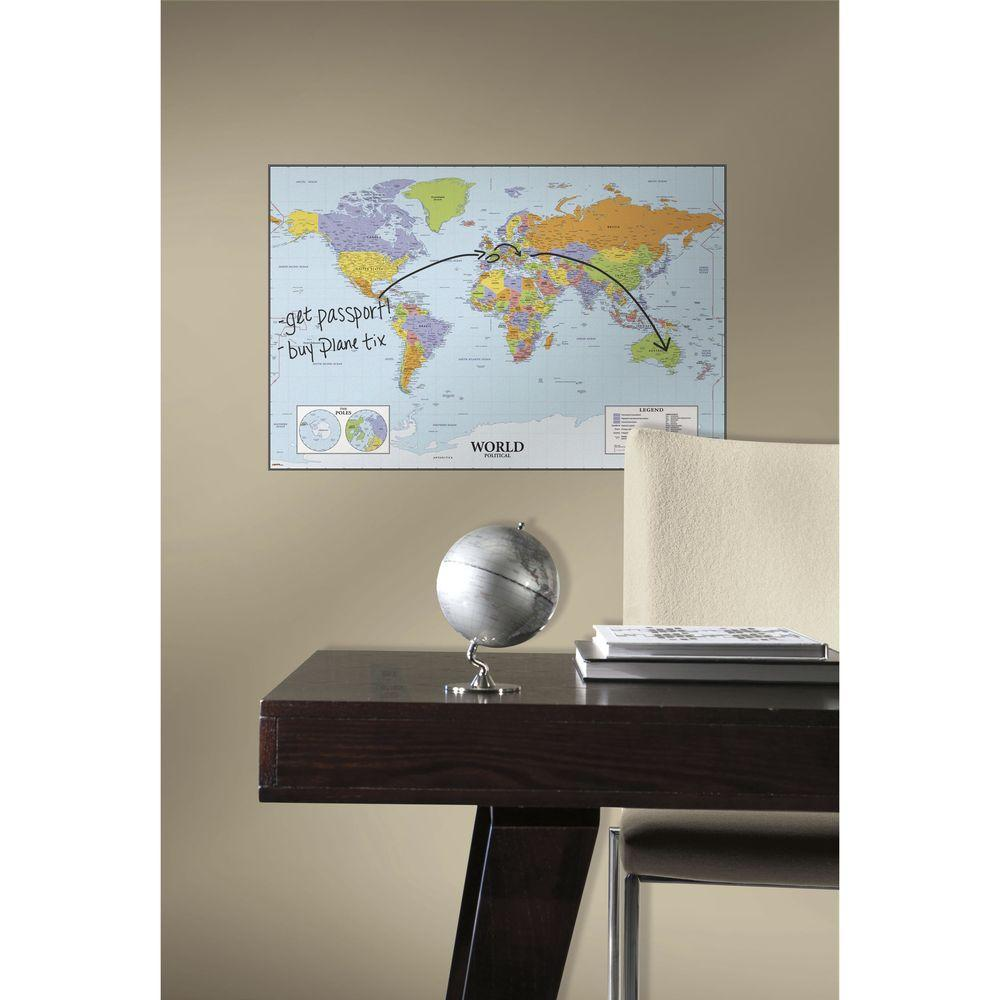 RoomMates 27 in. World Map Dry Erase l and Stick Giant Wall ... on
