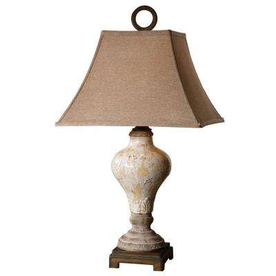 29 in. Crackled Ivory Table Lamp