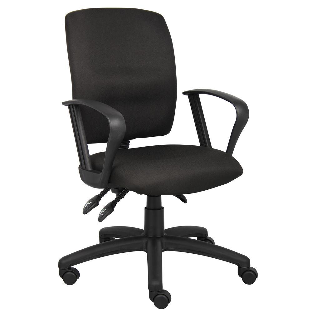Black Crept Fabric Loop Arms Ergonomic Multi-Function Desk Chair