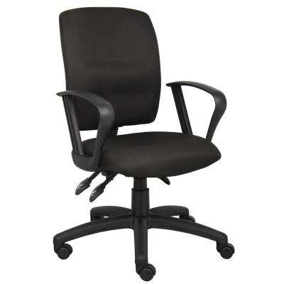 Black Crept Fabric Loop Arms Ergonomic Multi-Function Desk Chair