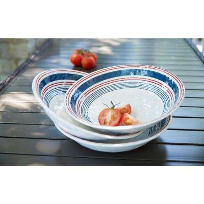 13.8 in. Melamine Serve Bowl in Stripes
