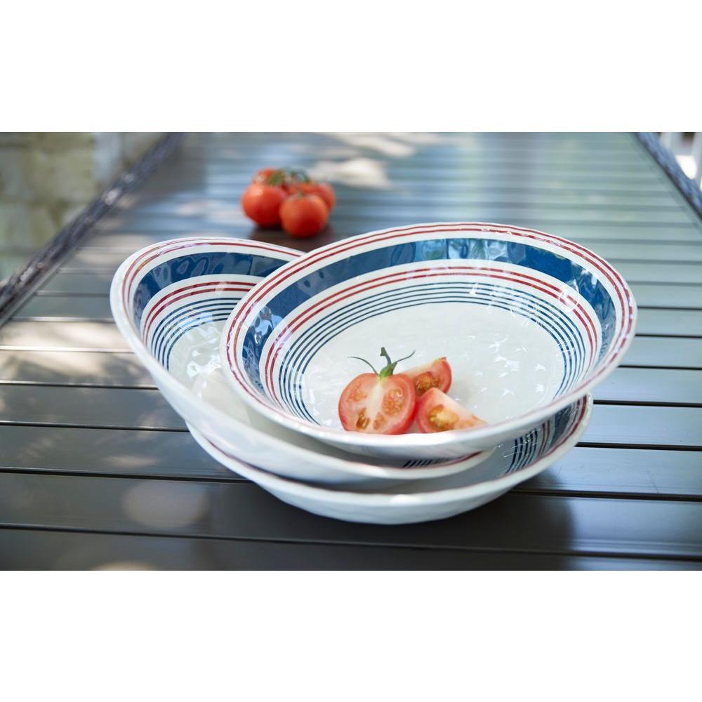 13.8 in. Melamine Serve Bowl in Stripes