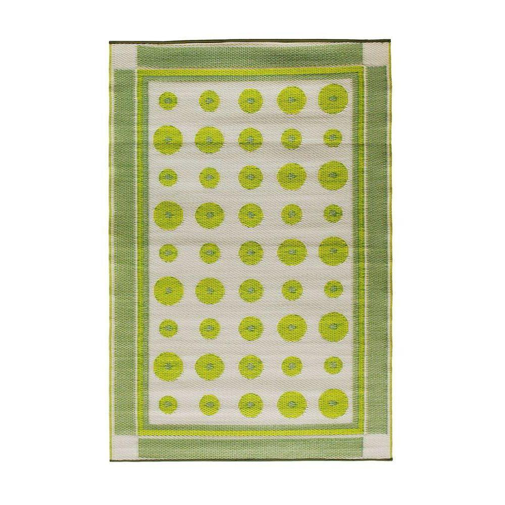 Achla Designs Yellow Green Dots 4 ft. x 6 ft. Indoor/Outdoor Area Rug, Green Yellow Light Green Achla Designs Yellow Green Dots 4 ft. x 6 ft. Indoor/Outdoor Area Rug, Green Yellow Light Green