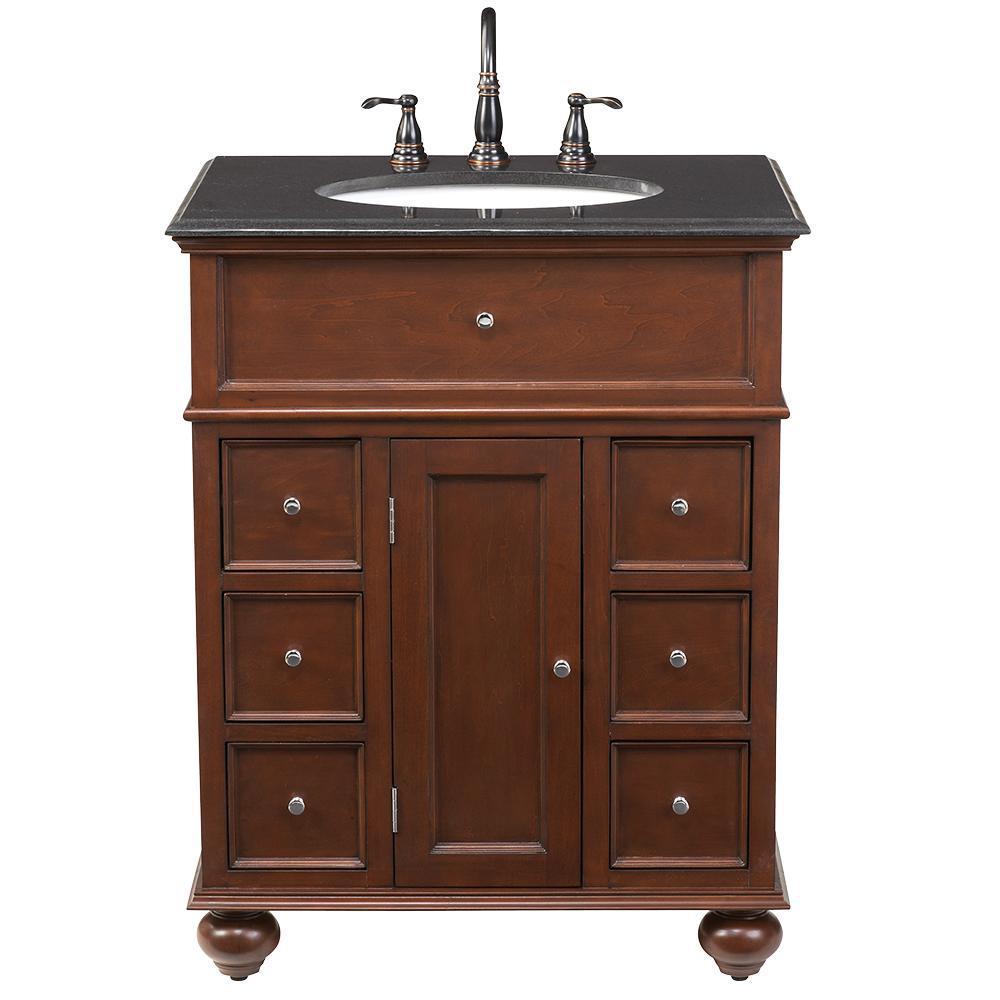 Home Decorators Collection Hampton Harbor 28 in. W x 22 in. D Bath Vanity in Sequoia with Granite Vanity Top in Black