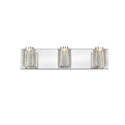 Doufu III 3-Light Mirror Stainless Steel and Clear Glass 21 in. LED Vanity Light Bar