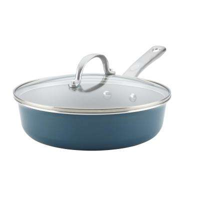 Home Collection 3 Qt. Porcelain Enamel Nonstick Covered Saut Pan in Twilight Teal