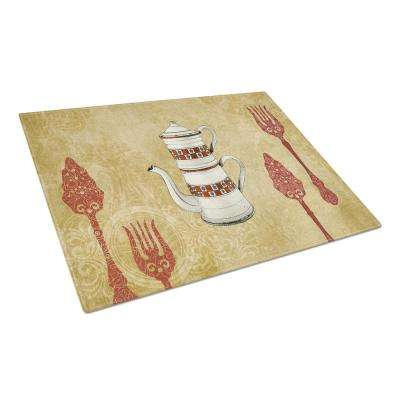 Teapot Welcome Tempered Glass Large Cutting Board
