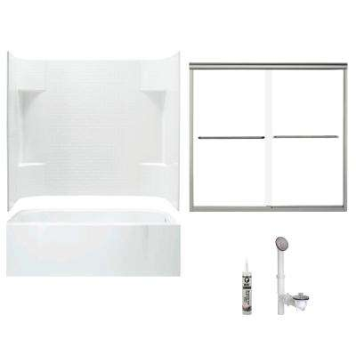 Accord 30 in. x 60 in. x 73.5 in. Bath and Shower Kit with Right-Hand Above-Floor Drain in White and Brushed Nickel