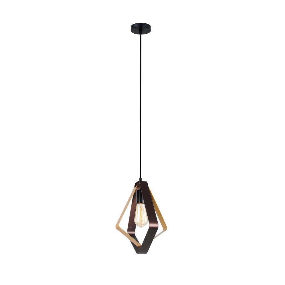 Home Decorators Collection 1-Light Steel Black and Brown Brass Satin Mini Pendant
