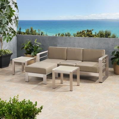 Cape Coral Silver 4-Piece Aluminum Patio Conversation Sectional Seating Set with Khaki Cushions